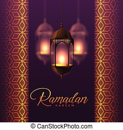 hanging lanterns and islamic pattern design for ramadan kareem