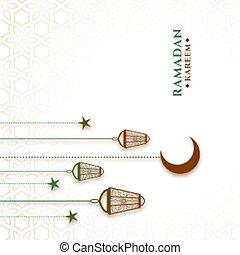 hanging lanterns and moon ramadan kareem background