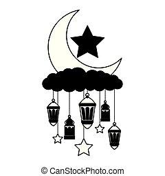 hanging lanterns moon stars decoration