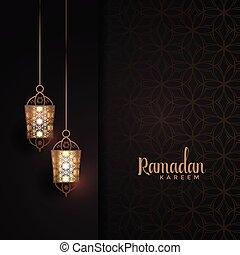 hanging lanterns with text space for ramadan kareem festival