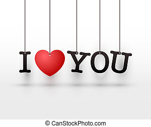 Hanging letters I love you red heart.