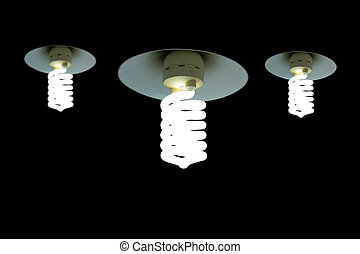 Hanging Light Bulb in the empty black background