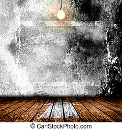Hanging Light Bulb in the Empty Concrete Room Interior
