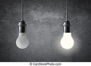 Hanging light bulbs on grunge wall. Idea concept