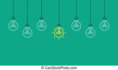 Hanging light bulbs one idea. Business concept background....