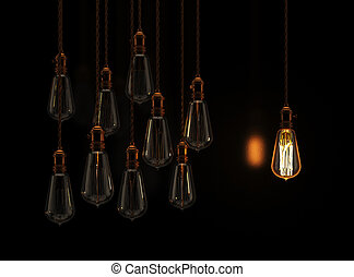 Hanging light bulbs with glowing one