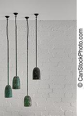Hanging malachite lamps