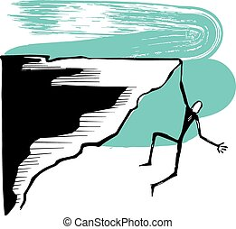 Hanging man on a cliff