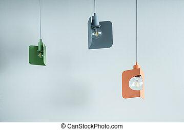 Hanging metal colorful edison lamps