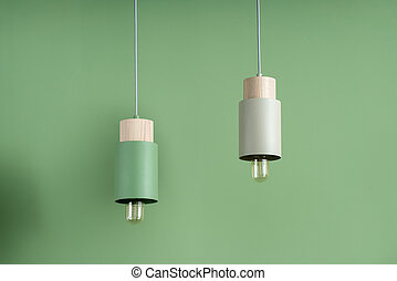 Hanging metal colorful edison lamps with wooden parts