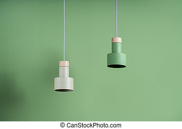 Hanging metal colorful lamps with wooden parts