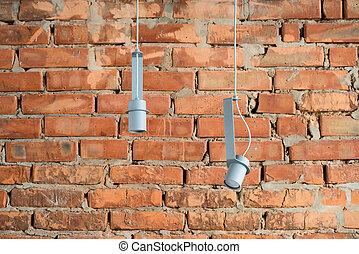 Hanging metal gray lamps