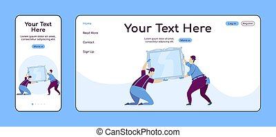 Hanging mirror adaptive landing page flat color vector template. Interior decorating mobile and PC homepage layout. Repairman one page website UI. Home repairs webpage cross platform design