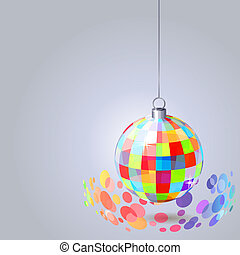Hanging mirror ball with sparkles on light grey background