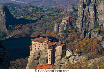 Hanging monastery at Meteora of Kalampaka in Greece. The Meteora area is on UNESCO World Heritage List since 1988