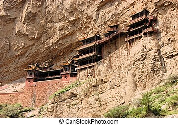 Hanging monastery temple near Datong, China - Hanging...