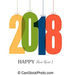 hanging numbers new year 2018 - colored hang tags with...