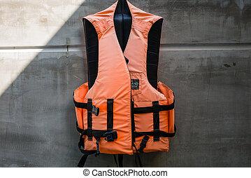 Hanging old life saving vest