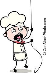 Hanging on a Rope and Screaming - Cartoon Waiter Male Chef Vector Illustration