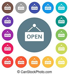 Hanging open sign flat white icons on round color backgrounds