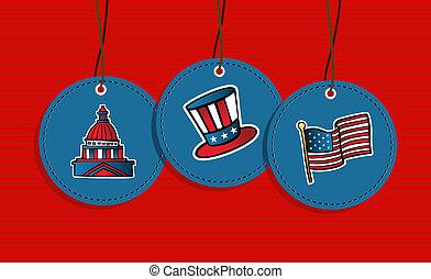 Hanging patriotic US badges.
