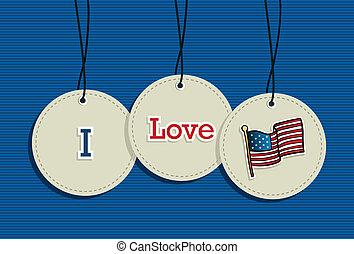 Hanging Patriotic USA badges.