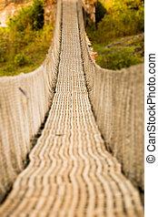 Hanging pedestrian bridge in Nepal