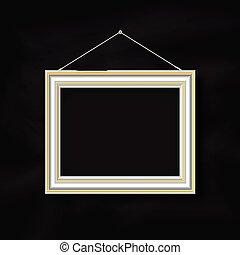 hanging picture frame on chalkboard background 2507