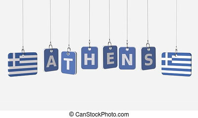 Hanging plates with flags of GREECE and Athens caption....