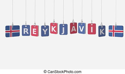 Hanging plates with flags of ICELAND and Reykjavik caption....