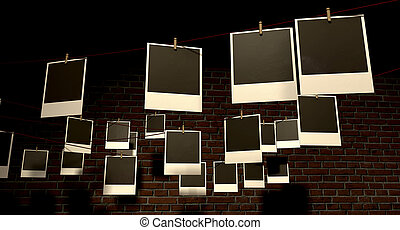 A gallery of blank polaroids pegged onto multidirectional red strings infront of a facebrick wall