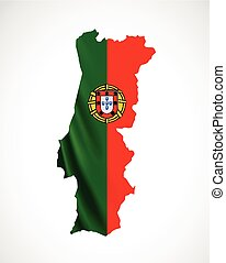 Hanging Portugal flag in form of map. Portuguese Republic. National flag concept.