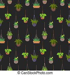 Hanging pots with plants seamless pattern background