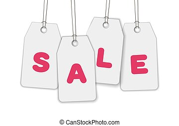 Hanging price tags with inscription SALE. White paper label isolated on background