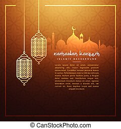 hanging ramadan festival lamps with masjid silhouette