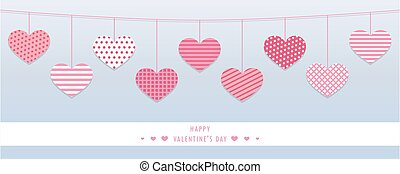 hanging red hearts with different pattern for valentines day...