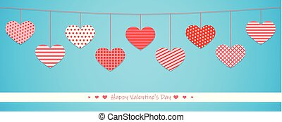 hanging red hearts with different pattern on blue background...