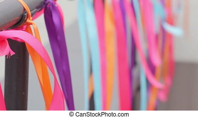 Hanging ribbons - Holiday decoration on multicolored ribbons