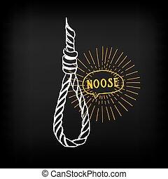 Hanging rope, noose sketch design vector.
