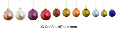 Hanging Row Matte Christmas Balls, Isolated White Background...
