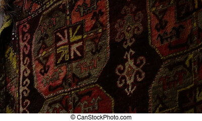 Hanging Rug with Patterns - Steady, close up, interior shot...