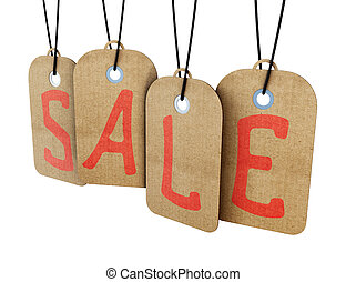 Hanging sale tags labels isolated on white background. 3d.