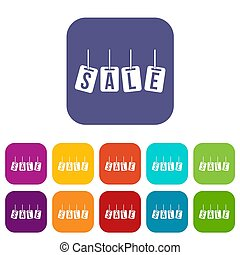 Hanging sales tags icons set