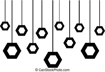 Hanging screws isolated on white background. Vector illustration.