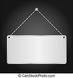 hanging sign panel on black background