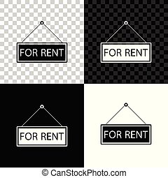 Hanging sign with text For rent icon isolated on black, white and transparent background. Vector Illustration