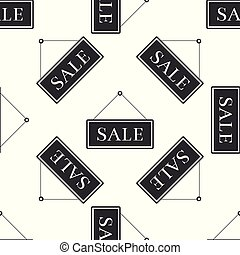 Flat design vector concept of house with sale word on hanging sign