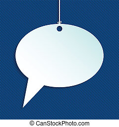 Hanging speech bubble with striped background