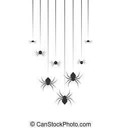 Hanging spiders. Halloween set design vector illustration