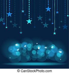Hanging Stars - Blue Holiday Background Illustration, Vector